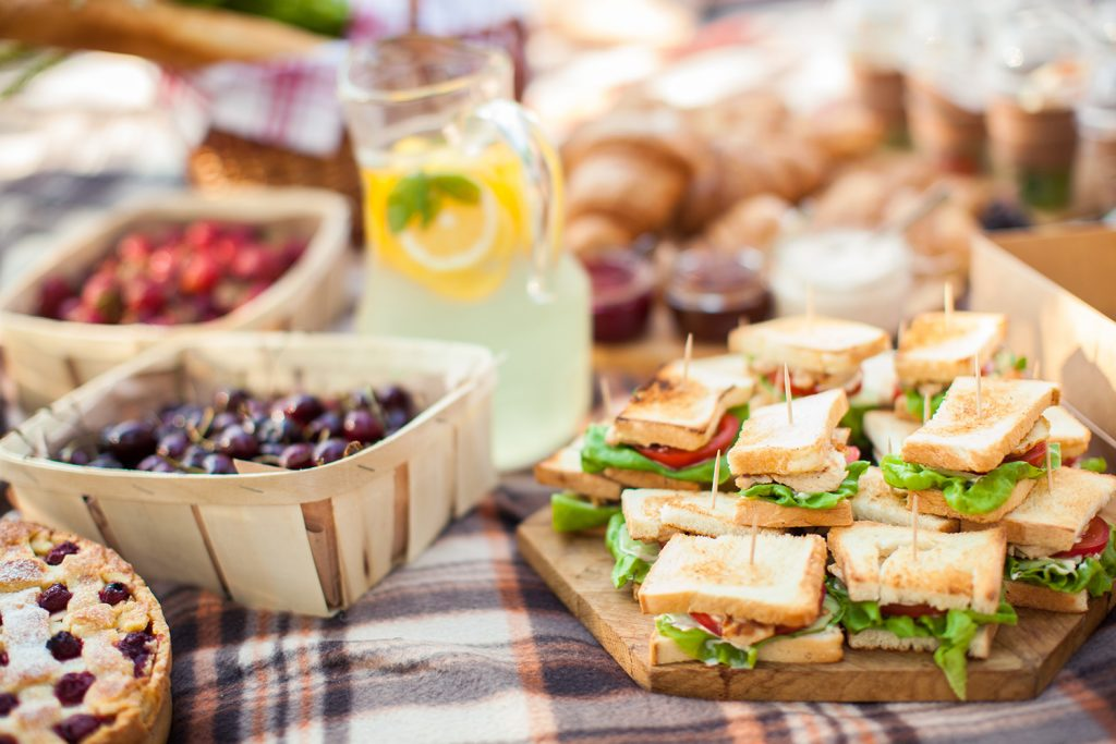 Finger food ideas for picnic, fresh mini sandwiches, fruits, tart and lemonade.