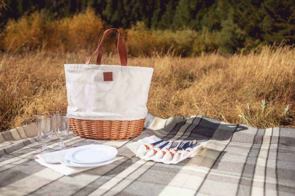 white picnic basket