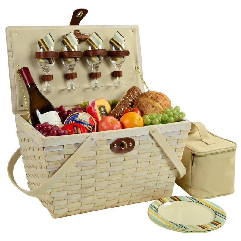 white picnic basket for four