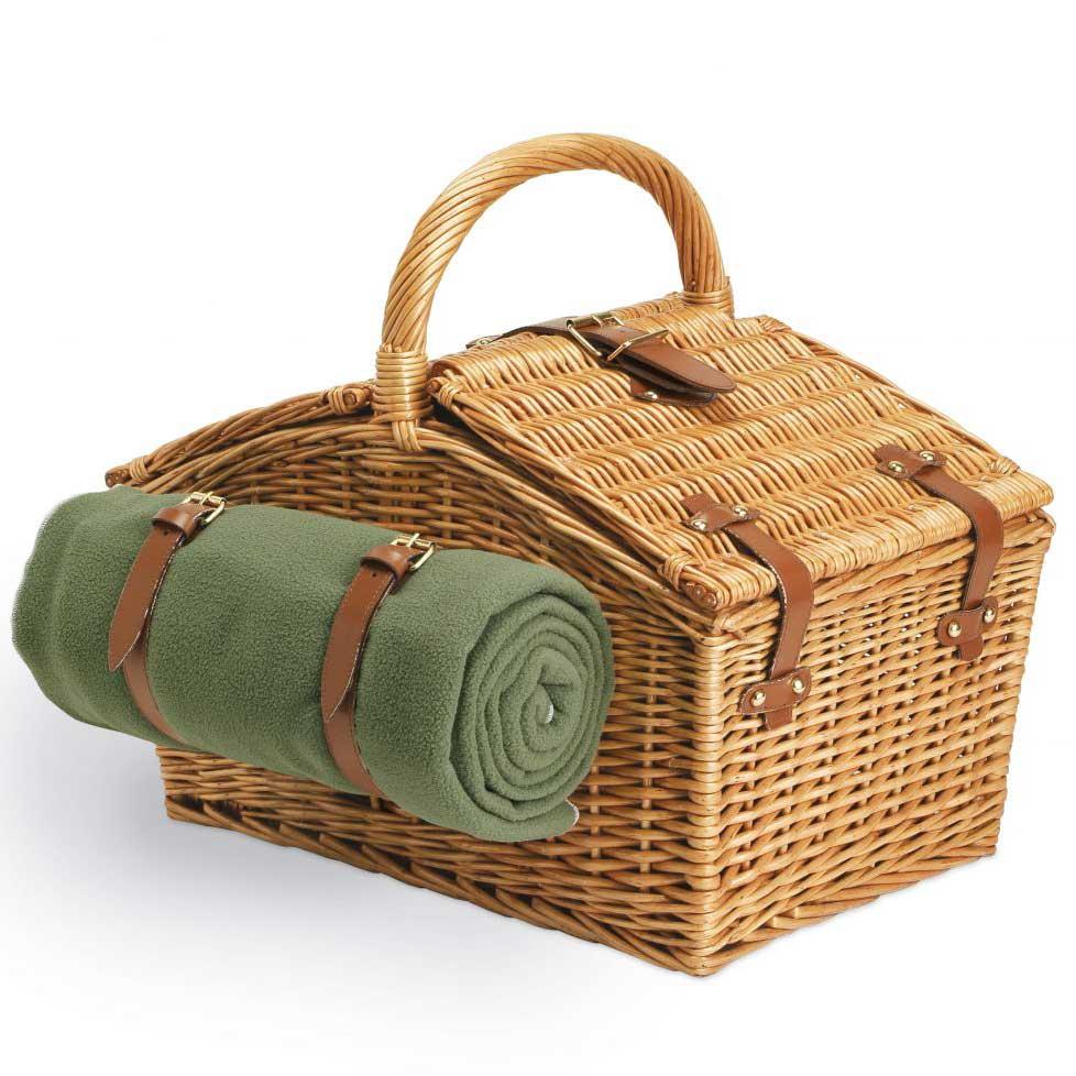 wicker basket blanket