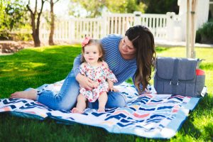 outdoor baby blanket mom and little girl
