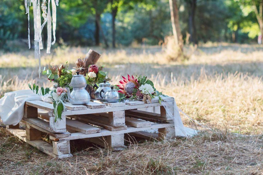 boho low picnic table