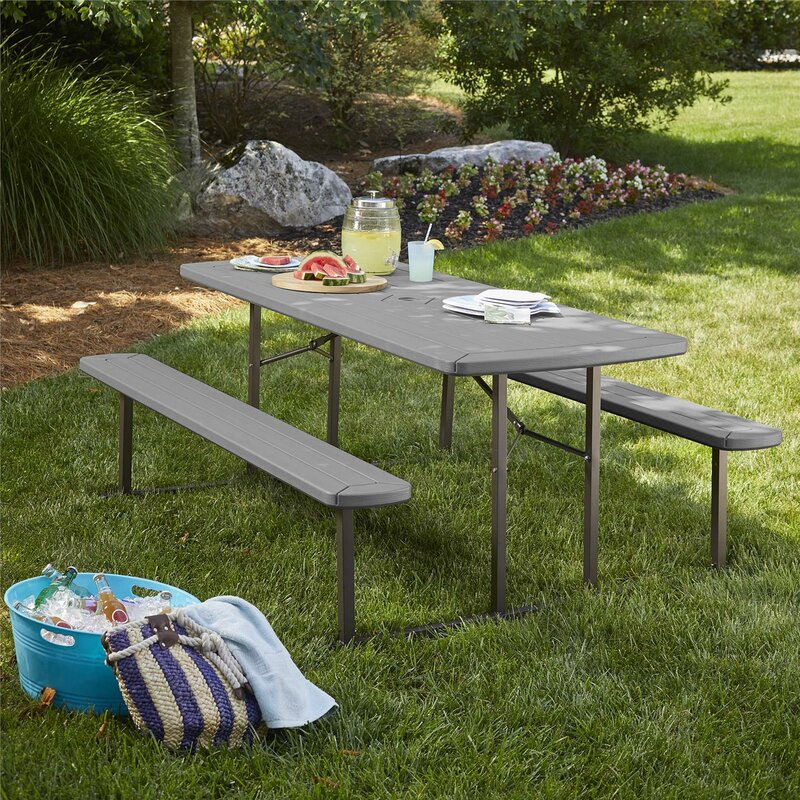 portable folding picnic table with benches