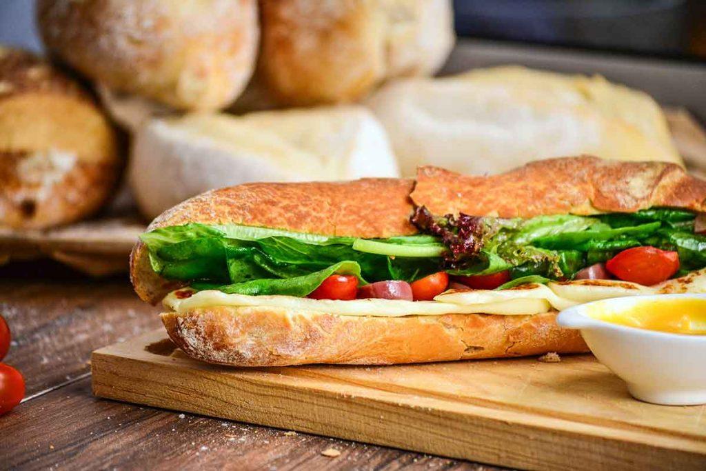 large lettuce leaf inside sandwich