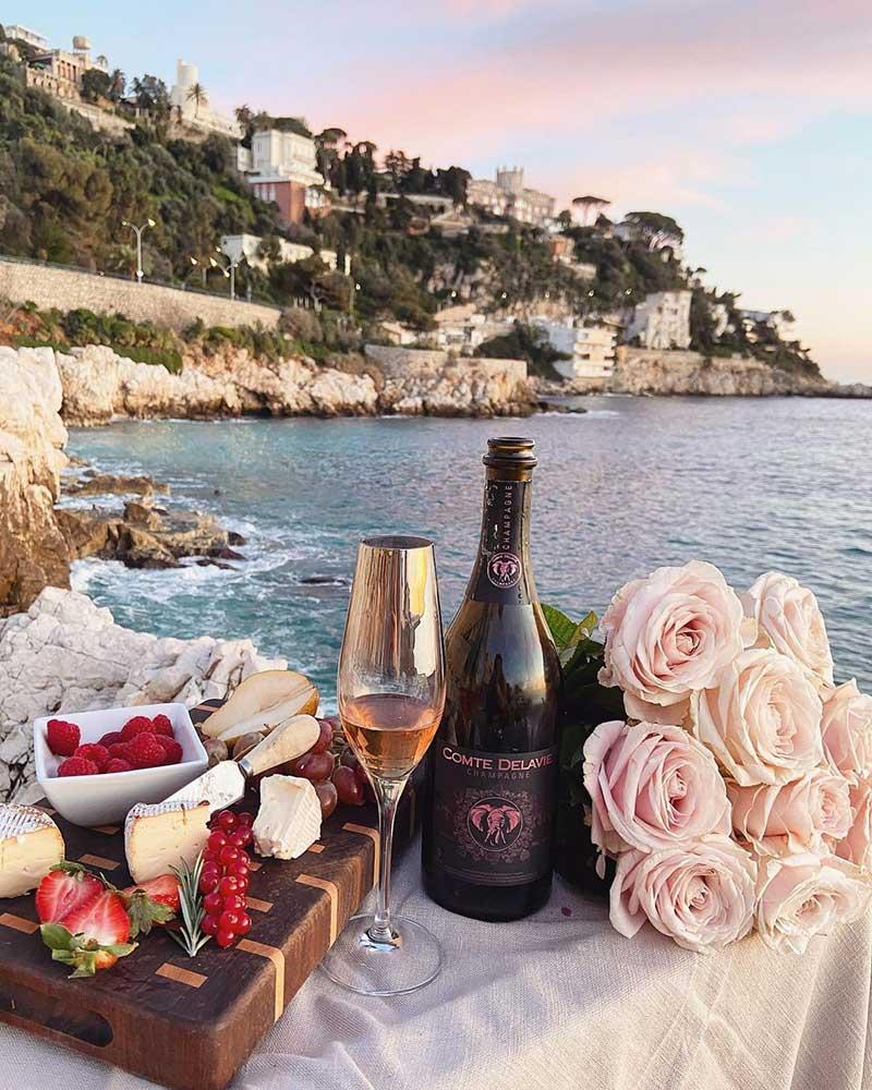pink roses picnic decor