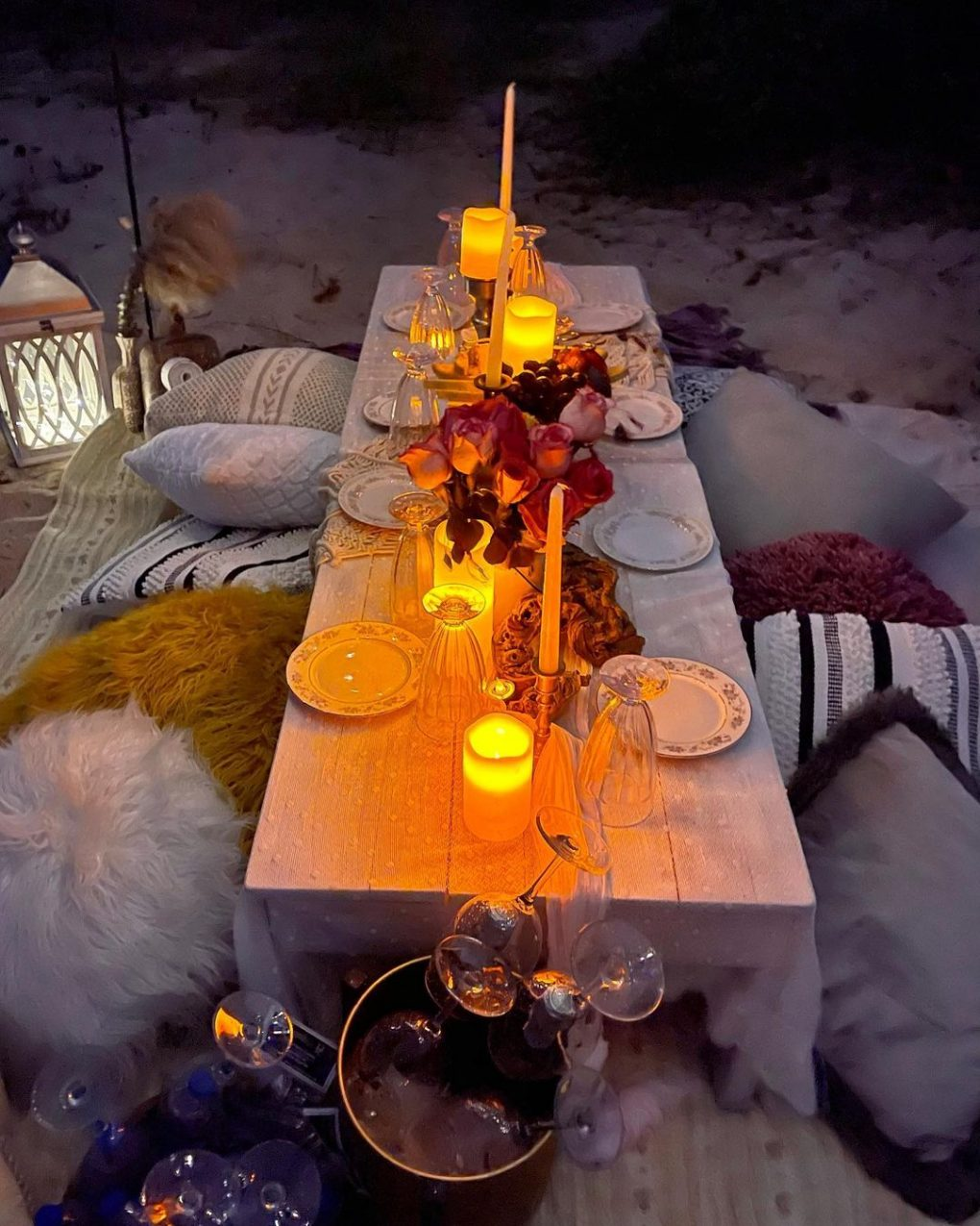 scented candles night picnic idea