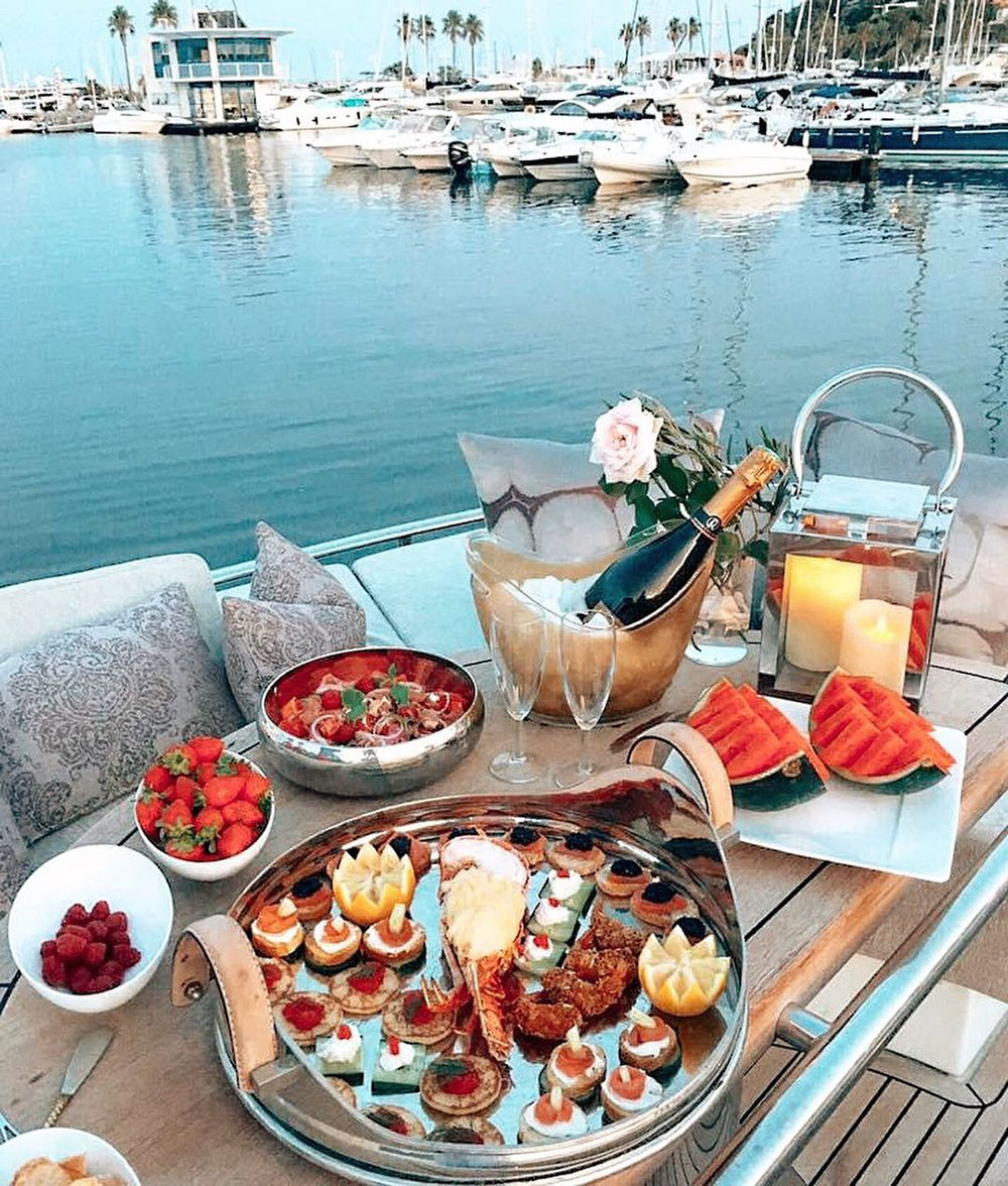 romantic picnic on a yacht