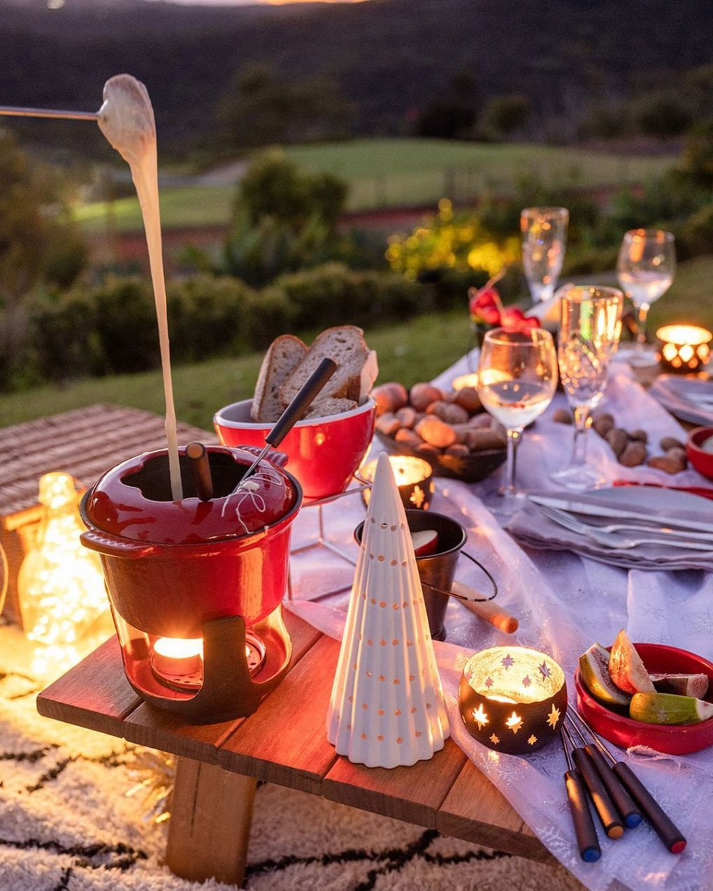 cozy cold weather scenery with fondue